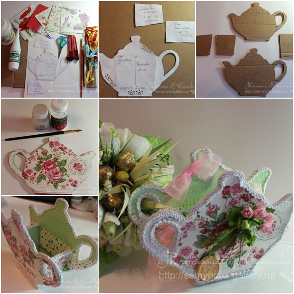 how to make beautiful teapot shaped teabag holder with