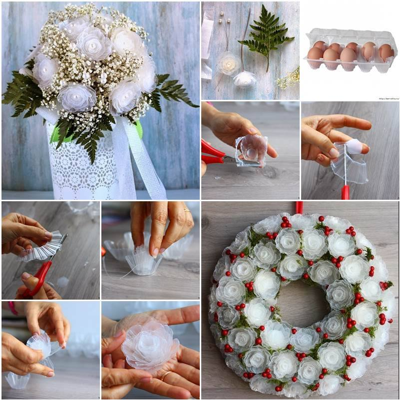 Flower bouquet from egg box tray Egg carton flowers ideas