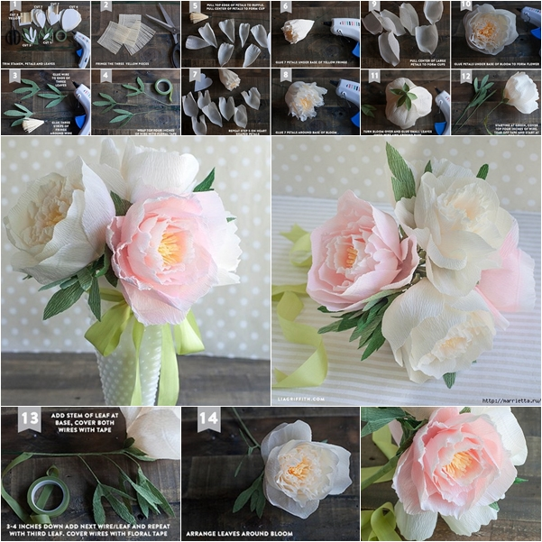 How to make beautiful crepe paper peony flower bouquet mightylinksfo