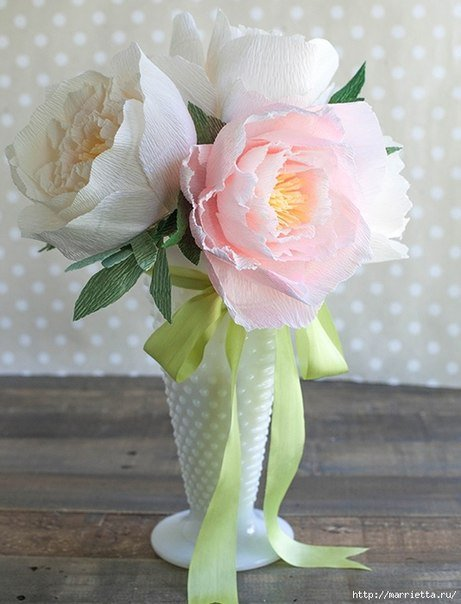 How to make beautiful crepe paper peony flower bouquet mightylinksfo Gallery