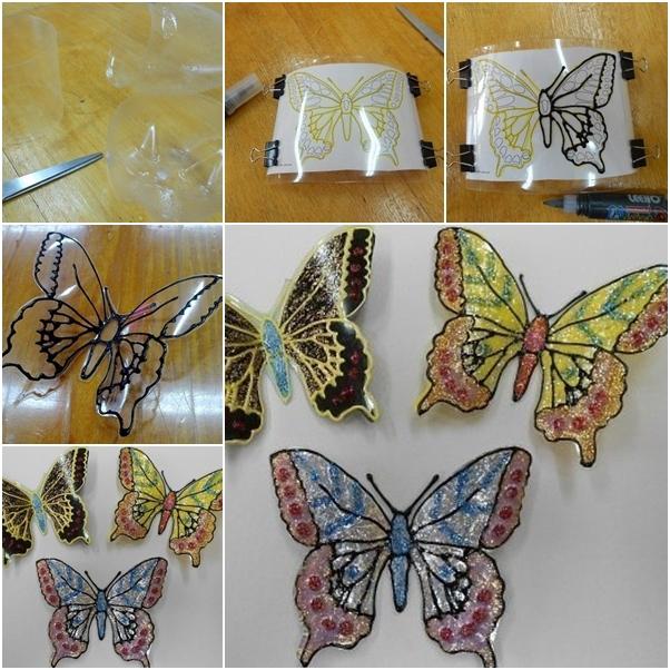 How to Make Glitter Plastic Bottle Butterfly