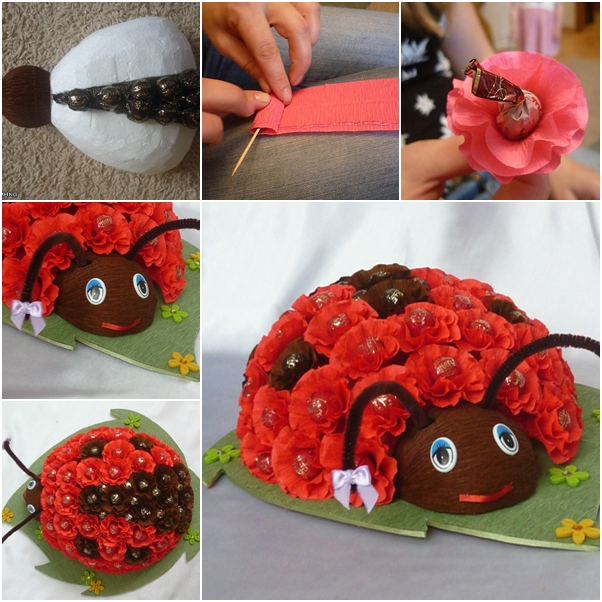 DIY Chocolate Ladybug Flower Bouquet tutorial
