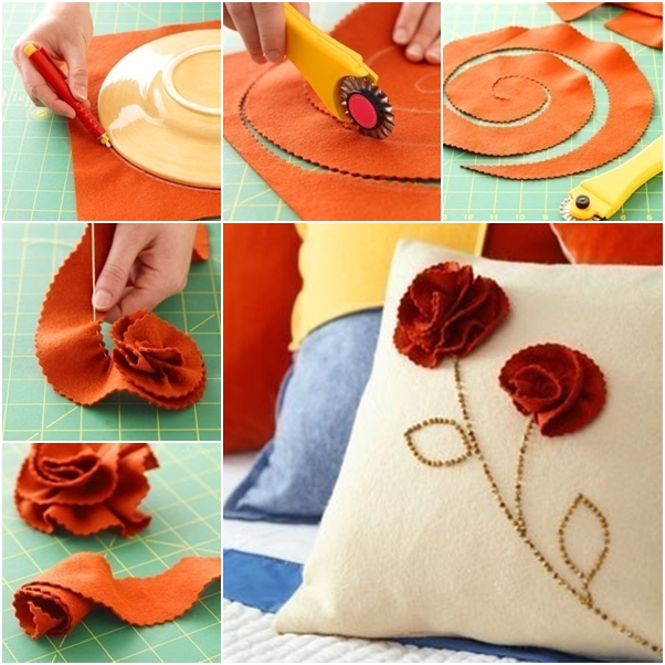 carnation decorated pillow