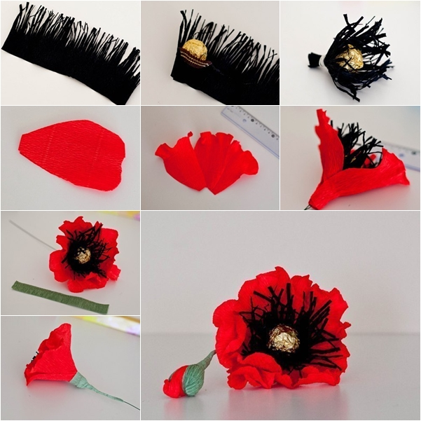 How to make red chocolate poppy flower bouquet fab art diy chocolate paper poppies mightylinksfo