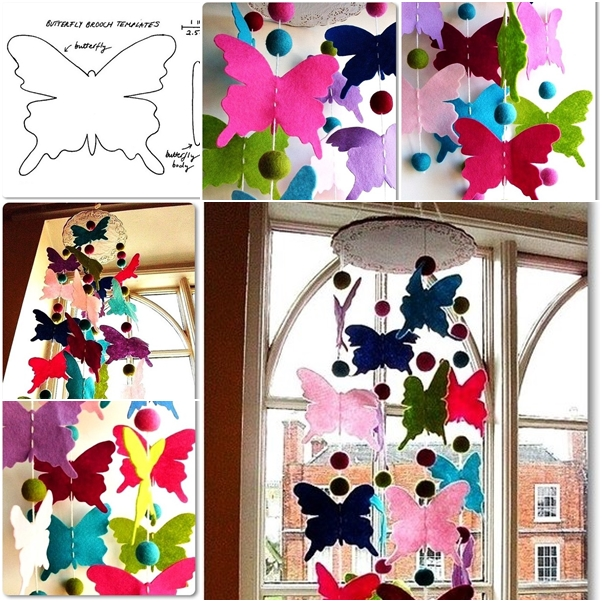 colorful felt butterfly mobile