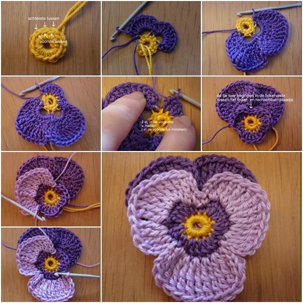 DIY Crochet Violet Flower Free Crochet Pattern