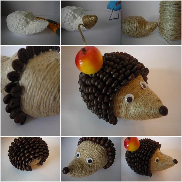 diy cute coffeebean hedgehog