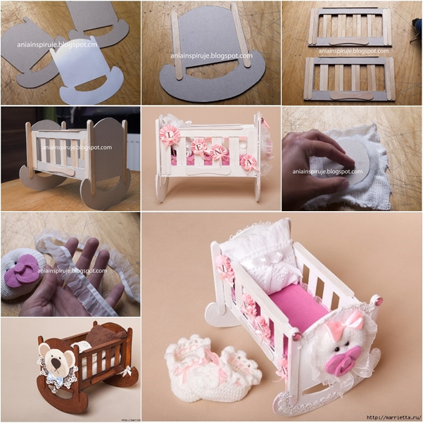 doll crib from cardbard and popsicle stick