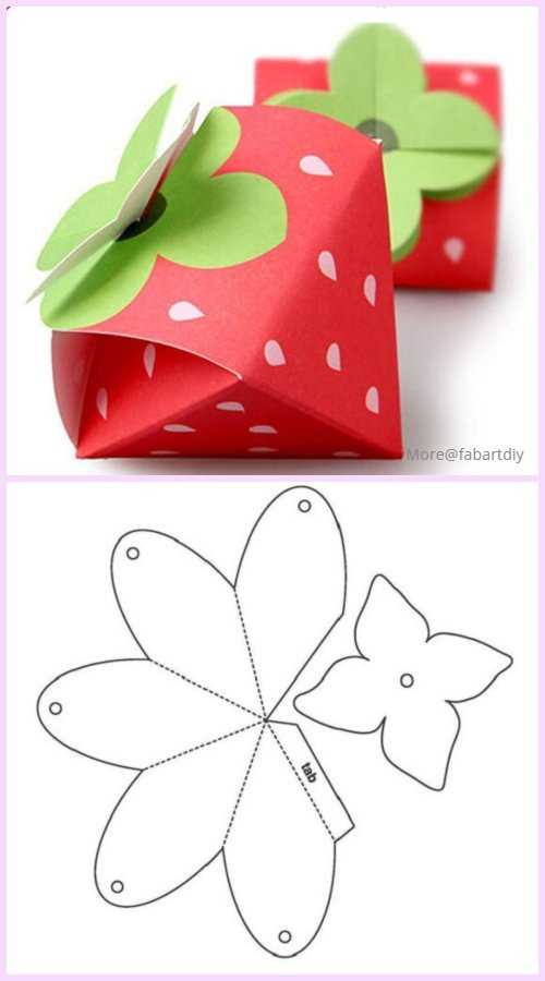 DIY Beautiful Candy Gift Box Free Template Download - strawberry candy box