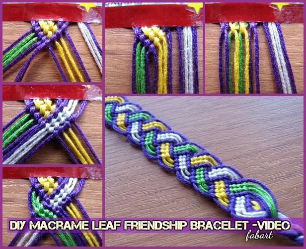 DIY Macrame Leaf Friendship Bracelet Tutorial-Video