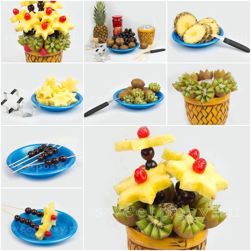 Fruit Flower Basket How To : How to make mixed fruit flower bowl for summer fab art diy