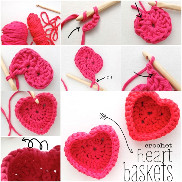 heart shaped basket from old T-shirt