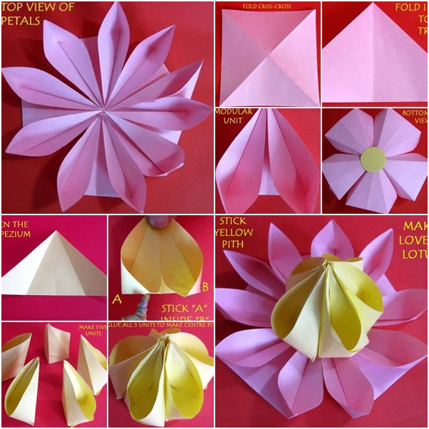 How to make lovely paper origami lotus fab art diy for How to make a lotus with paper