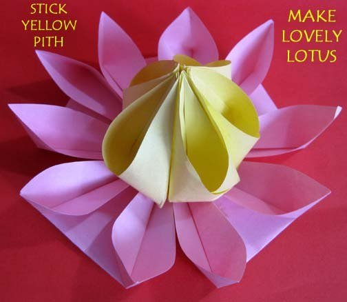 How to make lovely paper origami lotus for How to make a lotus with paper