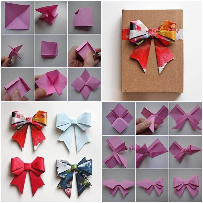How to make a paper Bow/Ribbon | Easy origami Bow/Ribbons for ... | 795x795