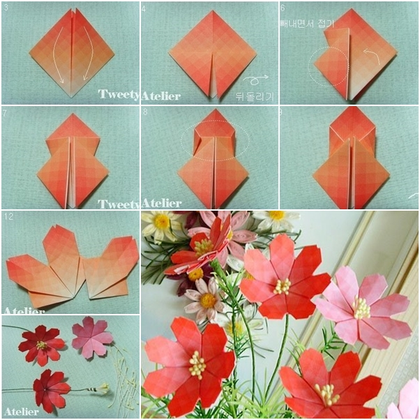 How to make beautiful paper origami flower fab art diy for Flower making at home
