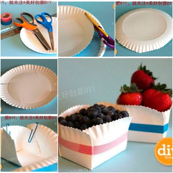 Diy easter bunny basket from paper plate paper plate basket negle Images