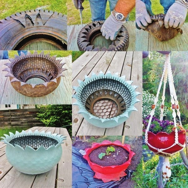 fabartdiy DIY Recycled Tire Flower Hanging Planter