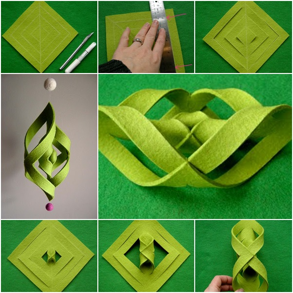 How To Diy 3d Felt Ogee Wind Chime on Green Spiral Fabric