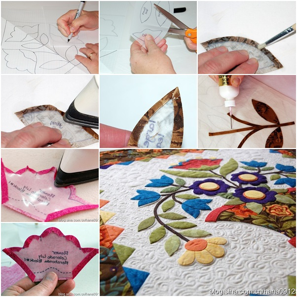 Appliqué  flowers on quilting
