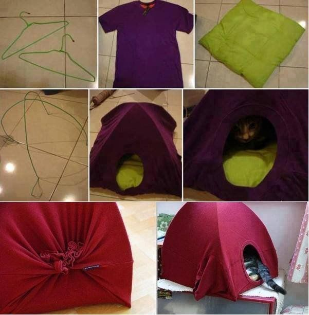 diy no sew cat tent from t shirt in 3 steps