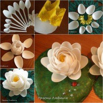 DIY Plastic Spoon Waterlily Flower