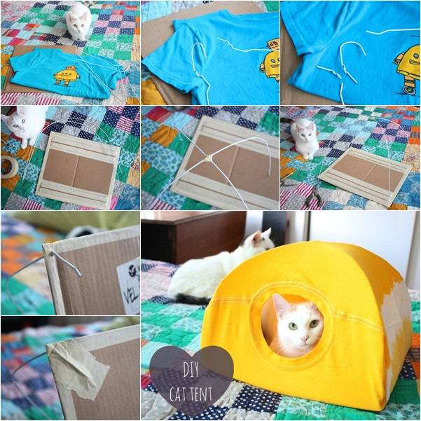 DIY no sew cat tent from t-shirt tutorial