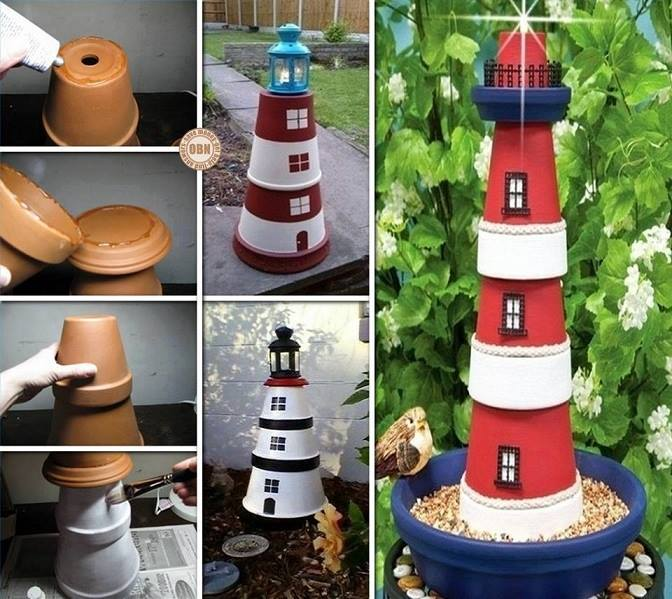 20+ Terra Cotta Clay Pot DIY Project for Your Garden-Clay Pot LightHouse
