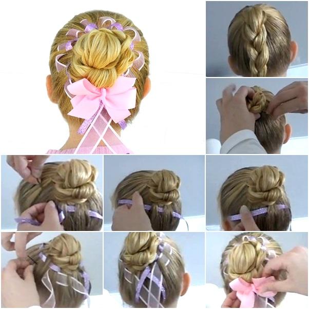 DIY girls hair bun with ribbons