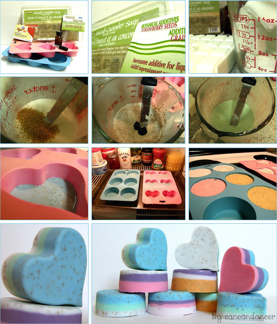 DIY heart shaped layered soap