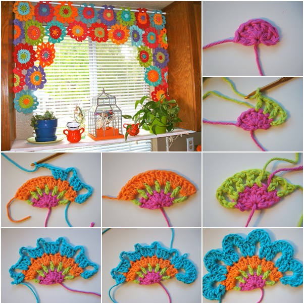 Crochet Patterns Valances : DIY Crochet Flower Power Valance Free Pattern