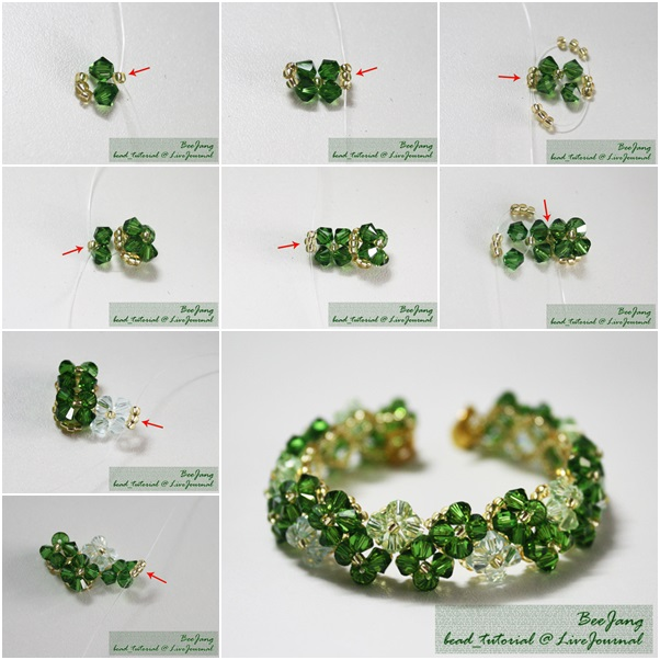 Four-Leaf Clover Beaded Bracelet diy