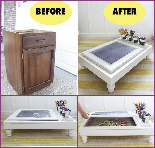 Repurposed Cabinet Door Chalkboard Desk Tutorial