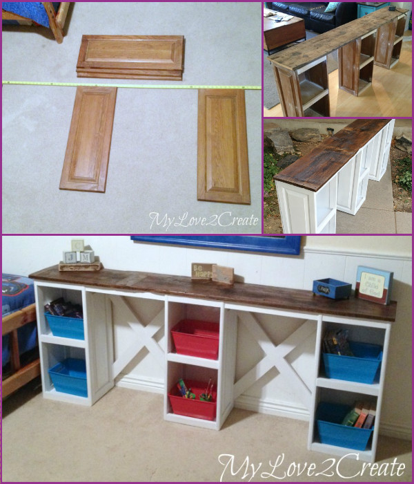 Repurposed Cabinet Door Desk kids Tutorial