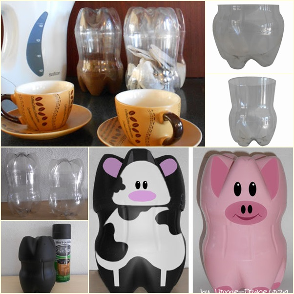 How to make animal containers from recycled plastic for Plastic bottle coin bank