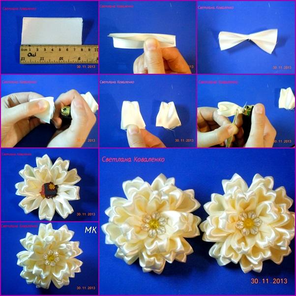 How To Make Special Kanzashi Satin Ribbon Flower Fab Art Diy