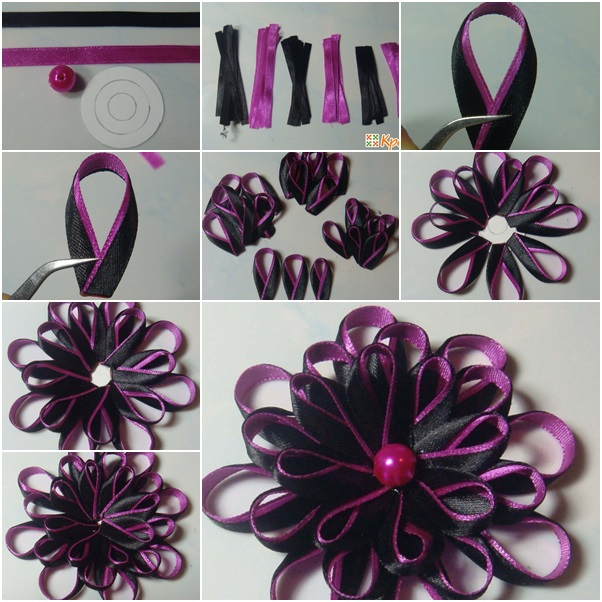 bi colored kanzashi ribbon flower