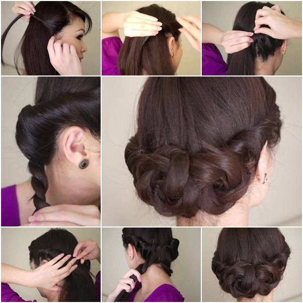 DIY Simple Twisted Hair Updo Hairstyle for Mid-long Hair