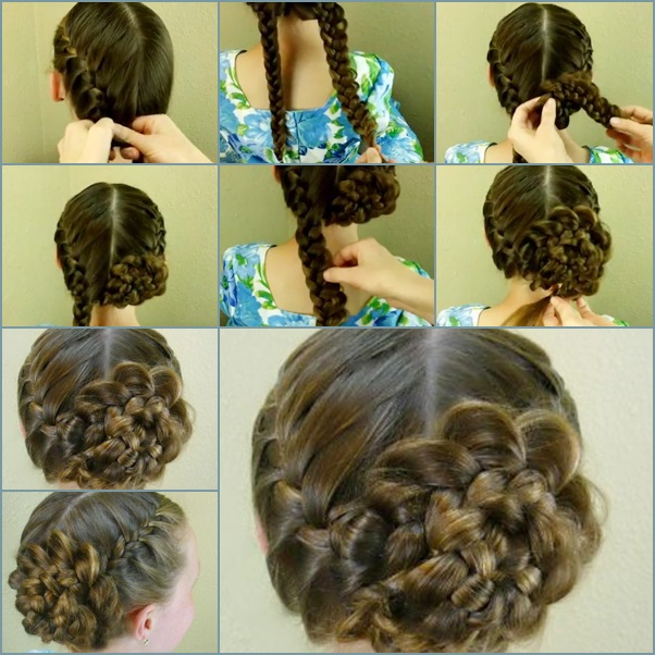 braided rosette updo hairstyle