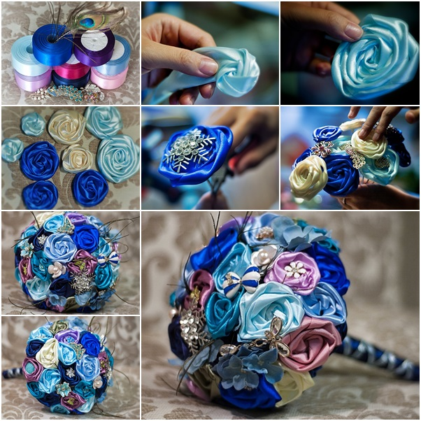 Enchanting How To Make Ribbon Flowers For Bouquet Image Collection ...