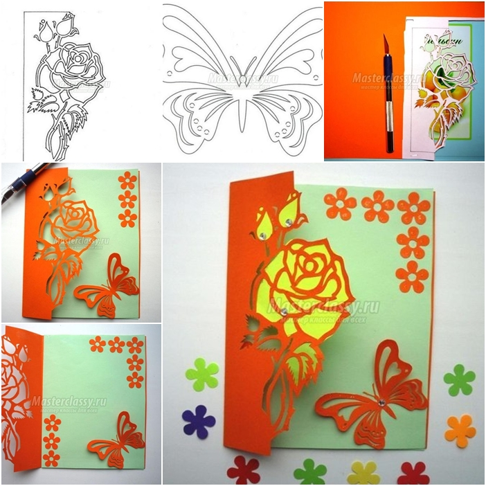 Free Carved Greeting Card Pattern - Rose and Butterfly