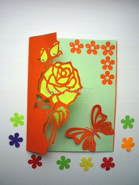 Free carved greeting card pattern rose and butterfly m4hsunfo