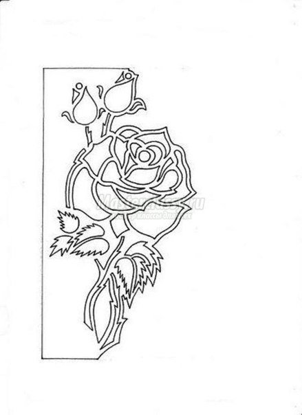 Free Carved Greeting Card Pattern - Rose and Butterfly2.jpg