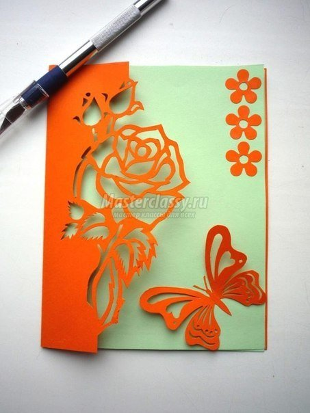 Free Carved Greeting Card Pattern - Rose and Butterfly5.jpg