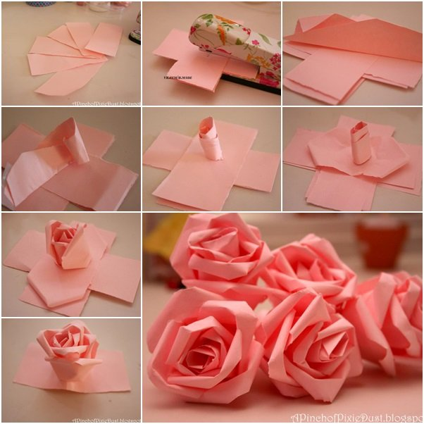How to make a paper rose flower step by step easy flowers healthy how to diy easy paper roses fab art diy tutorials mightylinksfo