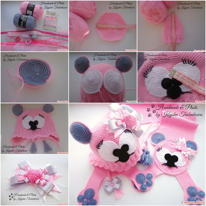 How To Crochet Cute Mouse Hat And Scarf Fab Art Diy Tutorials