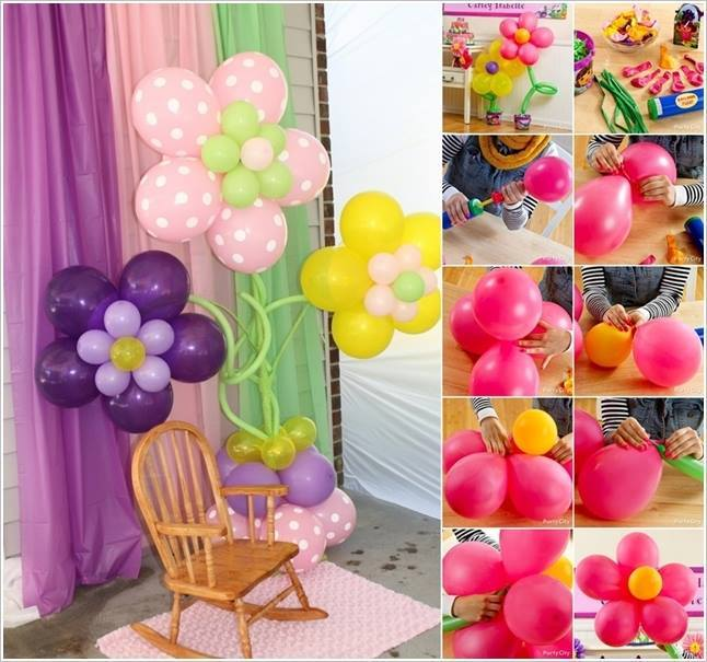 Beautiful balloon flower decoration for Bed decoration with flowers and balloons