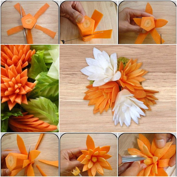 How To Diy Pretty Carrot Flowers For Dish Garnish Diy