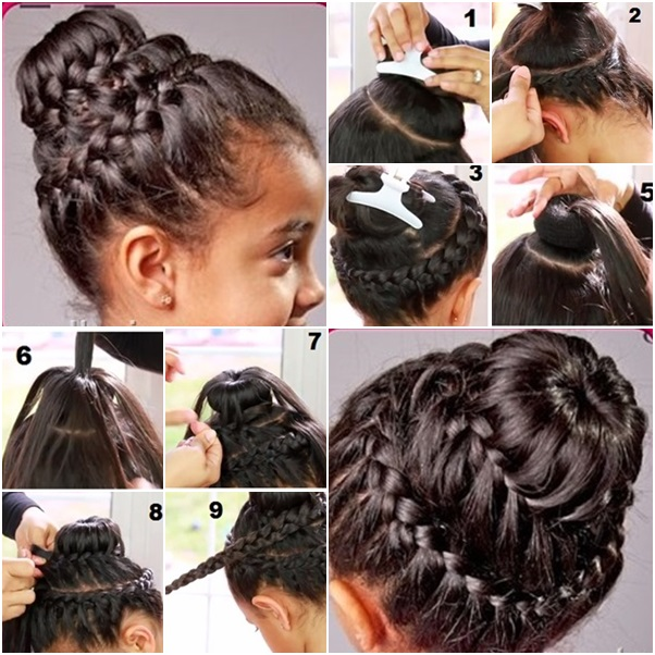 Stupendous Double Crown Braid With Donut Bun Tutorial Braids Short Hairstyles For Black Women Fulllsitofus