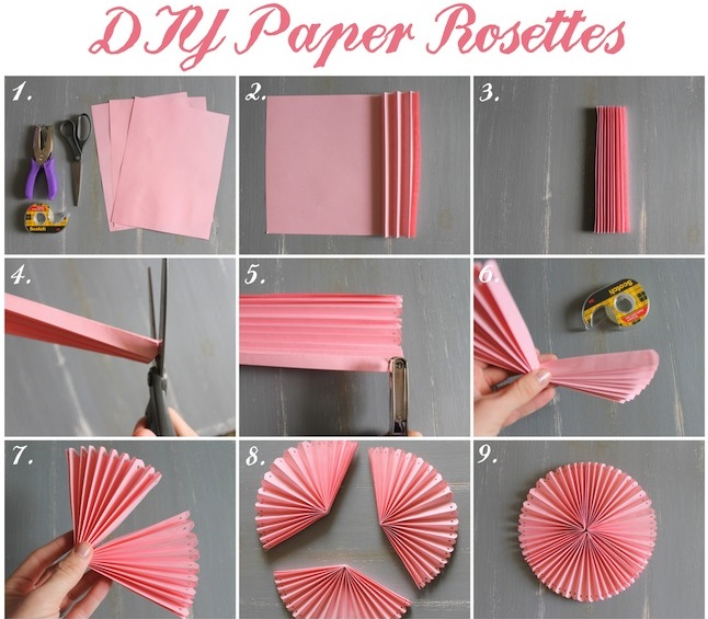 How to diy easy beautiful paper rosettes fab art diy easy folded paper rosette02 larger rosettes mightylinksfo Choice Image